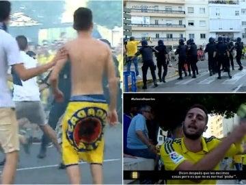 Enfrentamientos entre Policía y aficionados del Cádiz