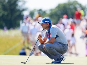 Sergio García, preparando un golpe durante el US Open