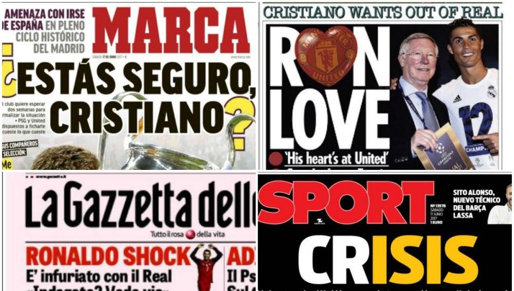 Las portadas de los principales diarios tras la noticia de Cristiano Ronaldo