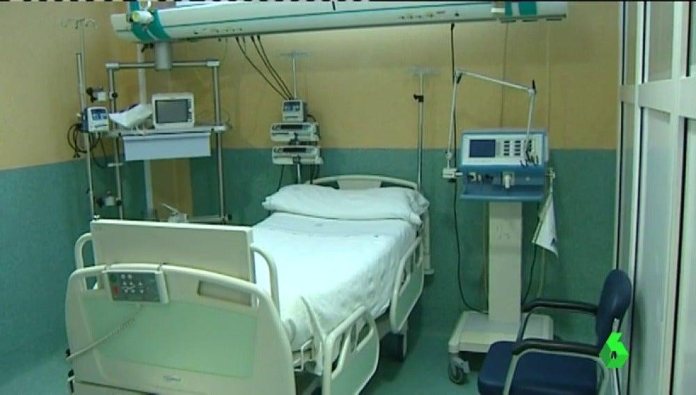 Una habitación de un hospital público de Madrid