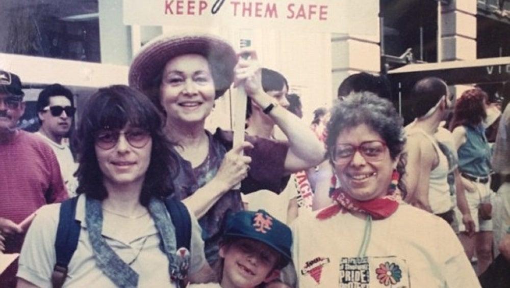 Frances Sally en la manifestación de 1970