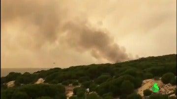 El corte de la carretera de Matalascañas por el incendio que azota Huelva deja miles de personas atrapadas