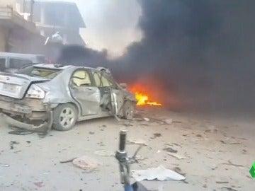 Los coches de la calle tras la explosión