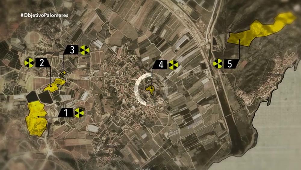 Las zonas contaminadas por radiactividad en Palomares: una de ellas está dentro del pueblo