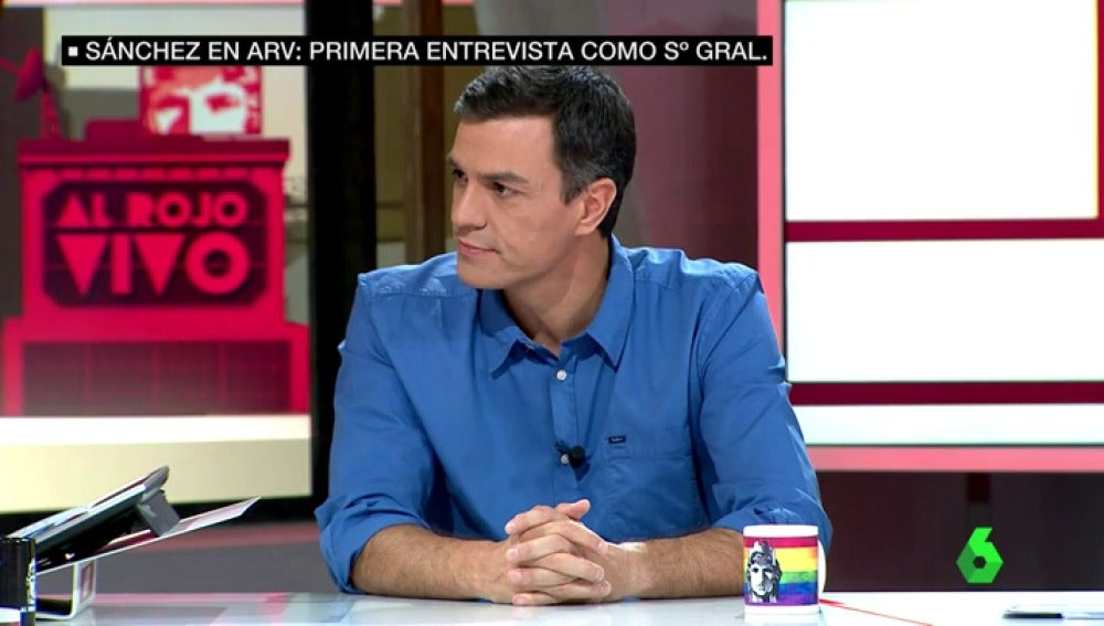 Pedro Sánchez, durante su entrevista en Al Rojo Vivo