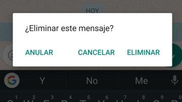 """Botón """"Anular"""" de Whatsapp"""