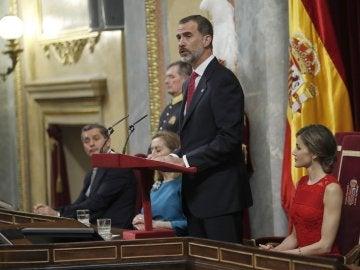 El rey Felipe VI, durante el discurso que pronunció en el Congreso