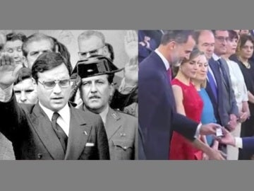 Martín Villa recogiendo la condecoración que le da Felipe VI y haciendo el saludo fascista | Archivo