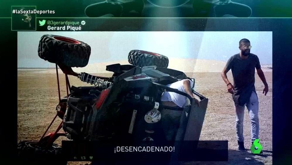 Gerard Piqué, tras volcar un buggy en el desierto