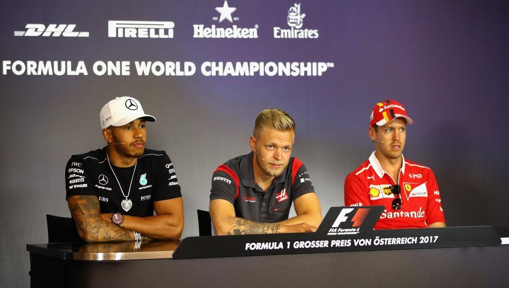 Vettel y Hamilton, en la rueda de prensa en Spielberg