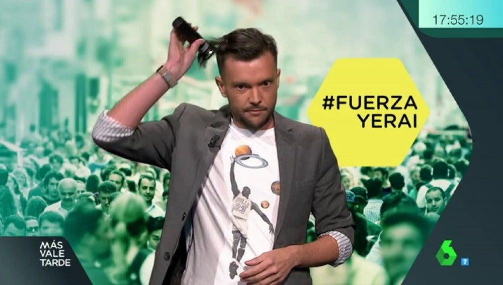 Javi Fuente se rapa en directo en Más Vale Tarde