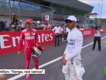 La 'cobra' de Hamilton a Vettel en público: se niega a darle la mano ante las cámaras en Spielberg
