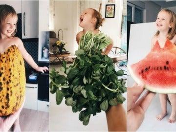Algunos vestidos de frutas y verduras diseñados por la madre