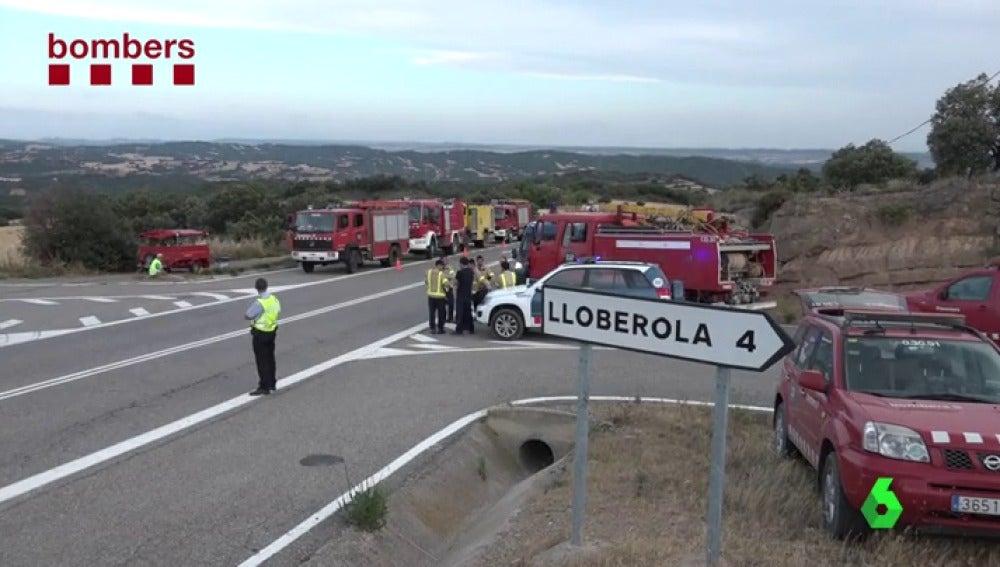 Un incendio que afecta a la localidad de Biosca, Lleida