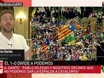 """Albano Dante: """"Pablo Iglesias y nosotros decimos que no podemos dar la espalda a lo que dice la gente en Cataluña"""""""