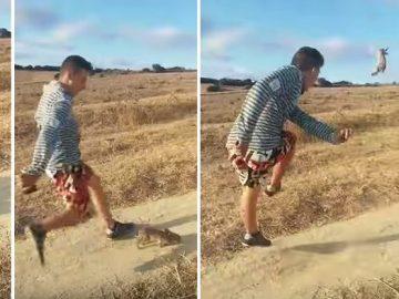 Un joven agrede brutalmente a un conejo