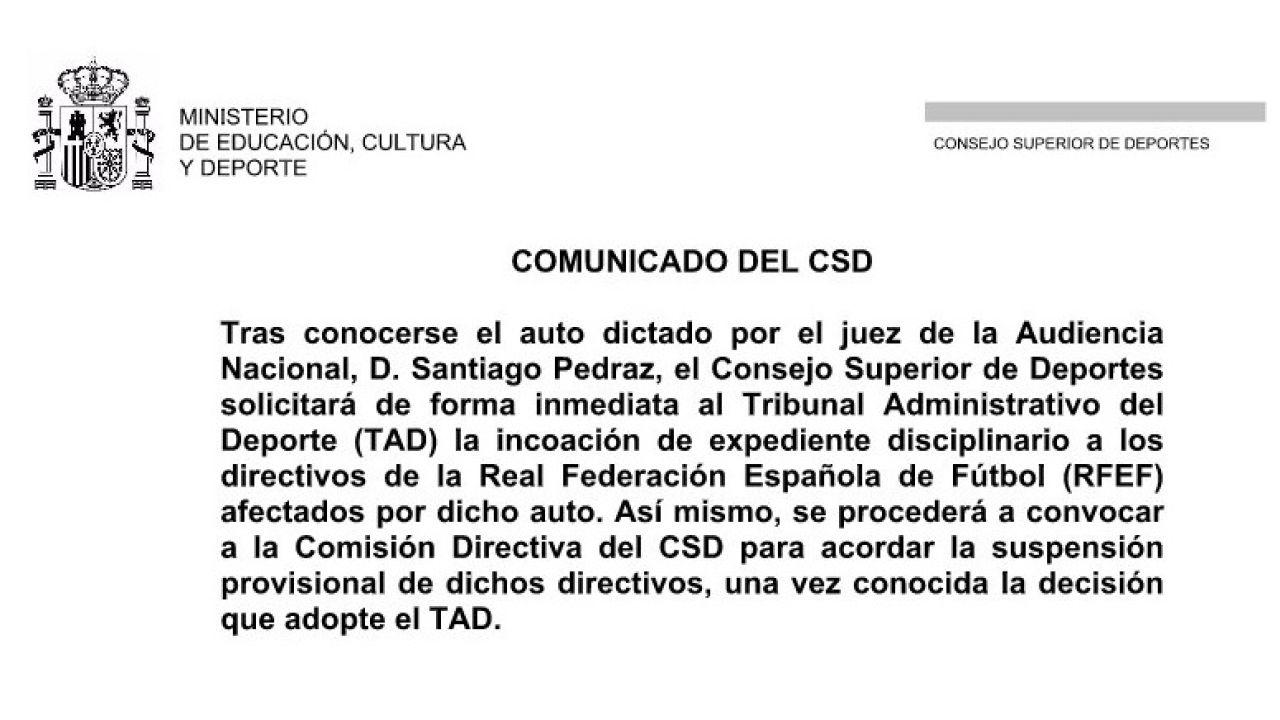Comunicado del CSD sobre Villar