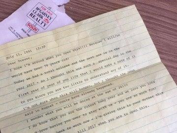 Una imagen de la carta de Betty a Trevor