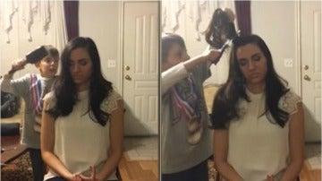 Capturas del vídeo en el que un niño le corta un mechón de pelo a su madre