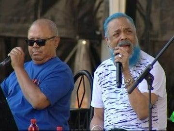 Pablo Milanés y Pancho Céspedes ensayando para su actuación en Starlite