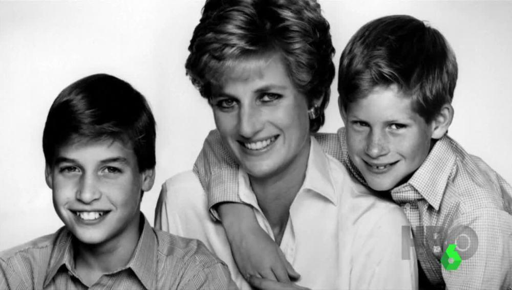 Lady Di junto a sus hijos Guillermo y Enrique de Inglaterra