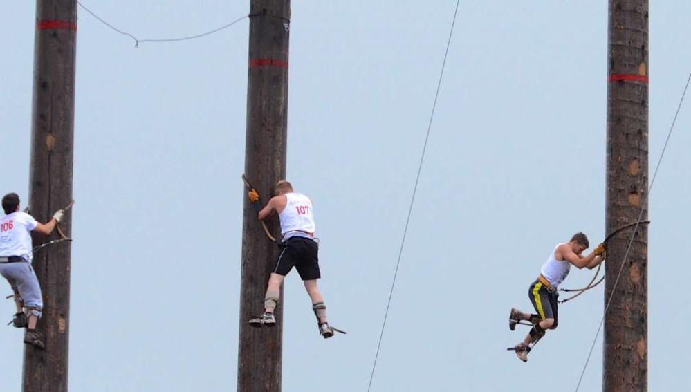 Los participantes deben escalar troncos de 27 metros