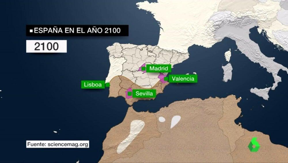 Mapa de España desértica por los efectos del cambio climático