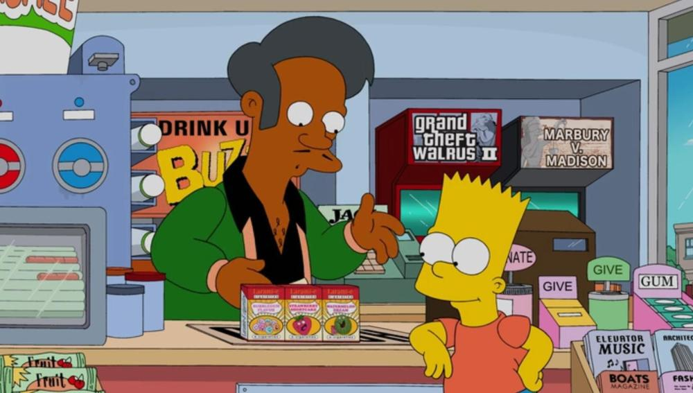 Imagen de archivo de una escena de la serie en la que aparece Apu junto a Bart Simpson.
