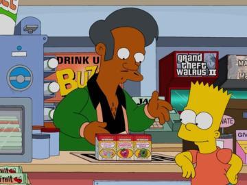 Imagen de archivo de una escena de la serie en la que aparece Apu junto a Bart Simpson
