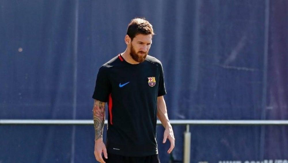 Leo Messi, en un entrenamiento con el Barcelona