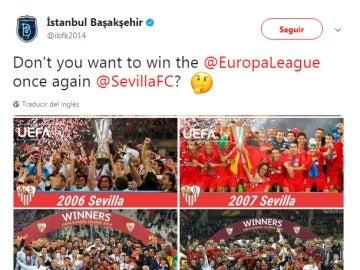 El tuit del Basaksehir mencionando al Sevilla