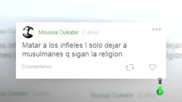 Mensaje de Moussa Oukabir en su cuenta de Twitter