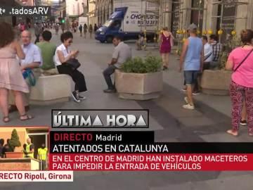 Los maceteros instalados en la Puerta del Sol tras los atentados de Barcelona