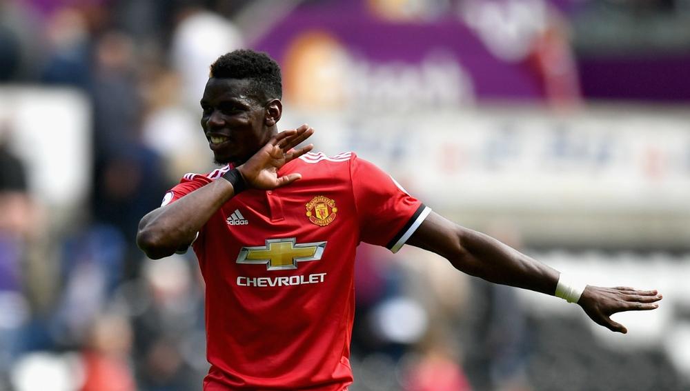 Pogba celebra un gol con el Man U