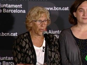 """Carmena se solidariza con Barcelona tras los atentados: """"Para lo que necesitéis Madrid está a vuestra disposición"""""""