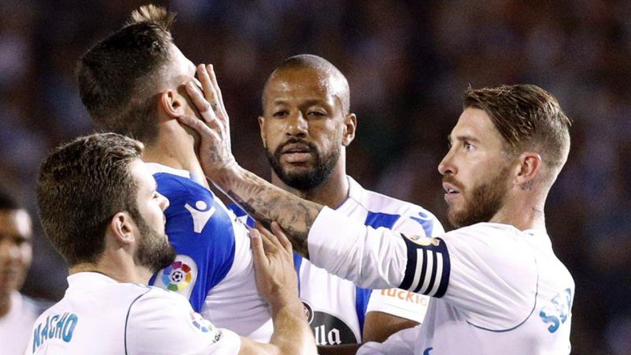 Sergio Ramos, expulsado en un momento del encuentro ante el Depor.