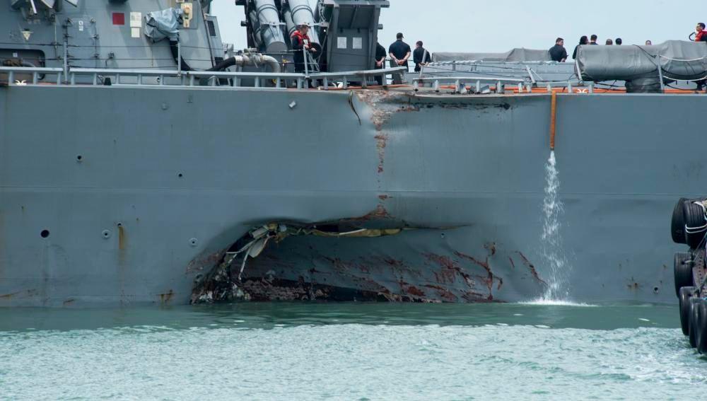 Choque de un buque de EEUU y un petrolero