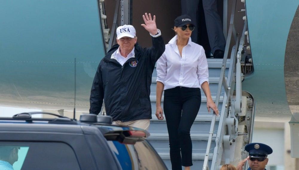 Donald y Melania Trump llegan a Texas