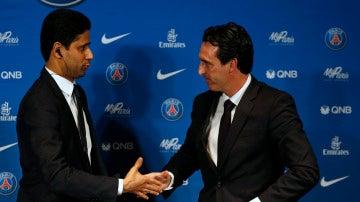 Emery saluda a Nasser Al-Khelaifi