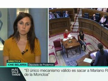 """Belarra, diputada de Podemos, ve """"bochornosa"""" la comparecencia de Rajoy: """"Incumple el reglamento del Congreso, debe responder"""""""