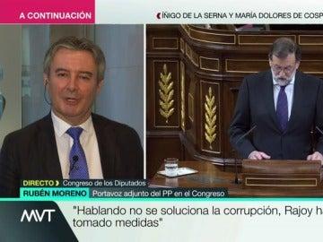 """Rubén Moreno, portavoz adjunto del PP, carga contra la oposición: """"Se enfadan si Rajoy no dice lo que ellos quieren"""""""