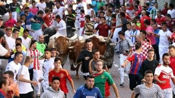 Los mozos corren delante de los toros, de la ganadería Peña de Francia, en el cuarto encierro de San Sebastián de los Reyes (Madrid) que tuvo lugar ayer.