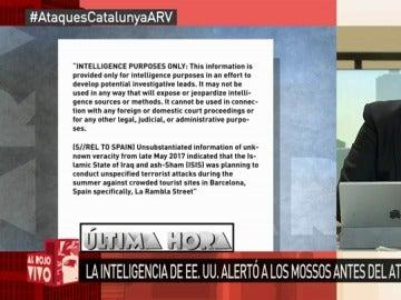 El texto íntegro de la alerta terrorista recibido por los Mossos