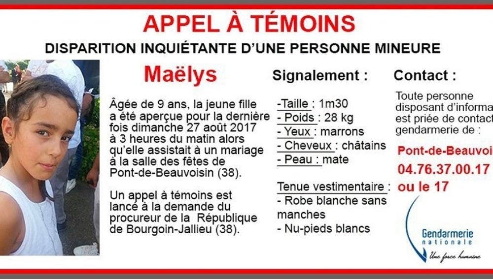 Alerta que facilitó la Gendarmería sobre la desaparición de Maëlys De Araujo