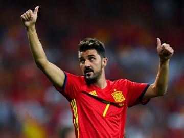 David Villa saluda a la afición española con la Selección