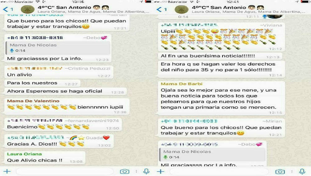 Una captura del grupo de Whatsapp