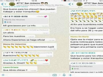 Una captura del grupo de Whatsapp