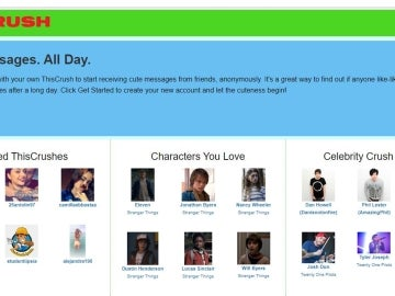 Página principal de la red social 'Thiscrush'