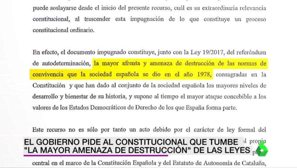 """El Gobierno pide al Constitucional que tumbe la Ley de Transitoriedad: """"La mayor amenaza de destrucción de leyes"""""""