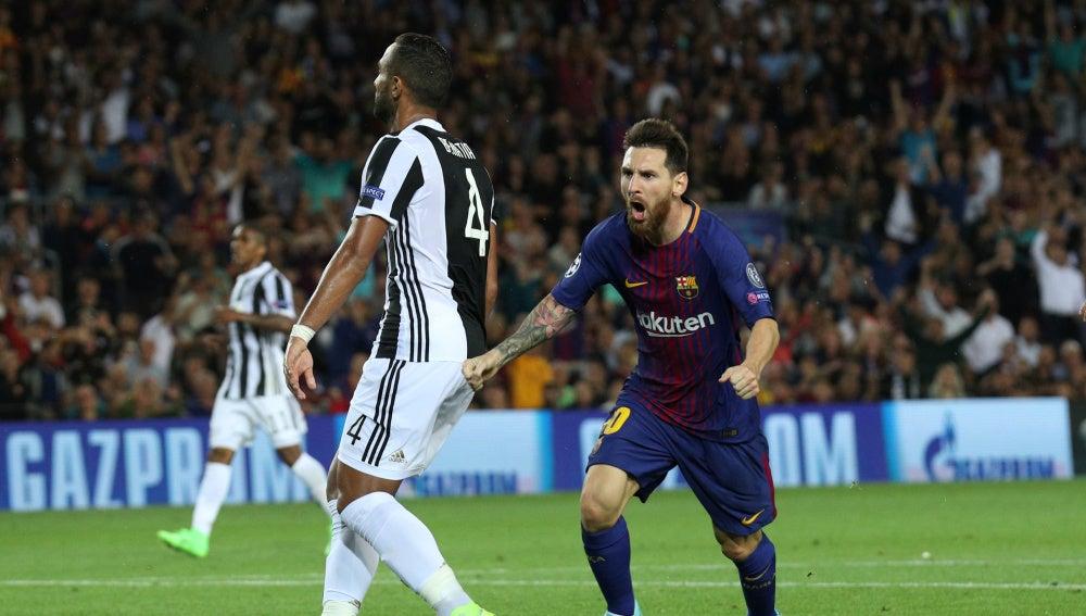 Messi celebra su gol contra la Juventus